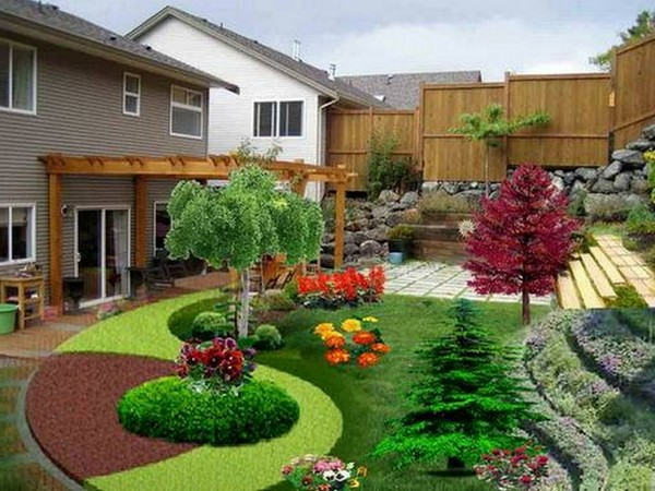 100 landscaping ideas for front yards and backyards for Small simple garden design ideas