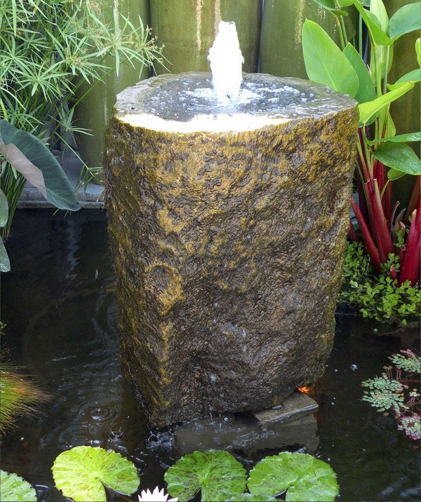 41 inspiring garden water features with images planted well for Backyard pond fountains