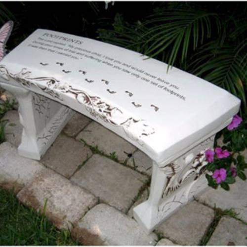 Footprints Concrete Bench