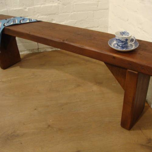 Hand Made Teak Old Pine Beam Solid Wood Bench