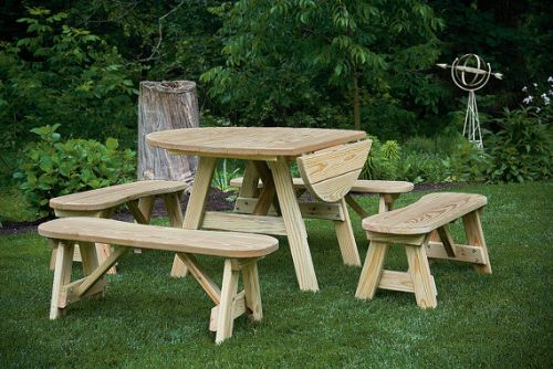 round drop leaf picnic table with 4 curved detached benches