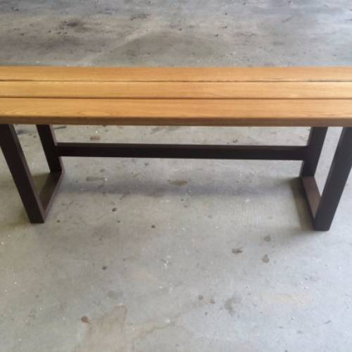 Hardwood Garden Bench with Painted Metal Base