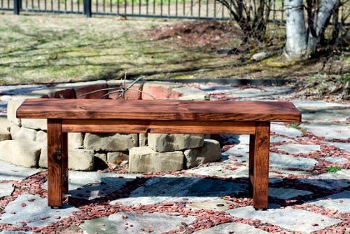 Rustic Bench Finished in Red Oak Stain - Price: $150 - Get it from Etsy