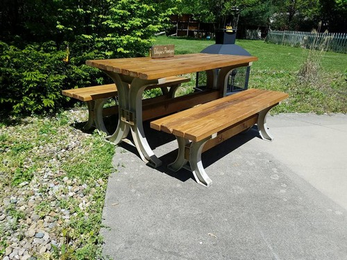 Rustic Indoor Outdoor Wood Picnic Bench Table