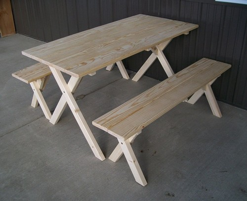 Round Wooden Picnic Bench