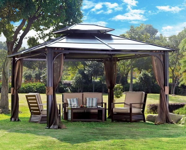 Sunjoy Chatham Steel Wooden Gazebo