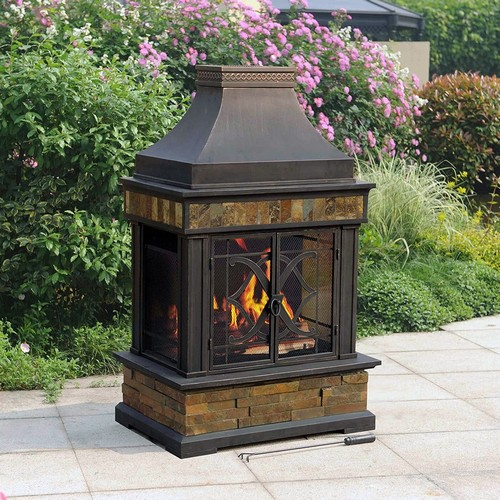 Sunjoy Heirloom Slate Fireplace - 31 Unique Outdoor Fireplace Designs, Ideas And Kits - Planted Well