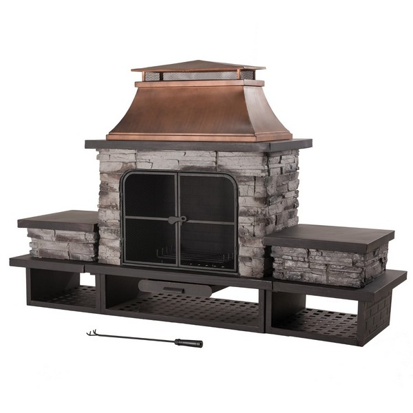 Sunjoy Stone Prefab Outdoor Fireplace Kits