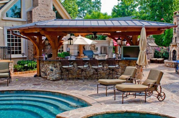 48 Amazing Outdoor Kitchen Ideas Planted Well Interesting Pool And Outdoor Kitchen Designs