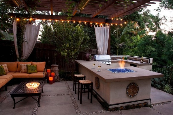 outdoor kitchen pergola l shaped outdoor kitchen and lounge 31 amazing ideas planted well