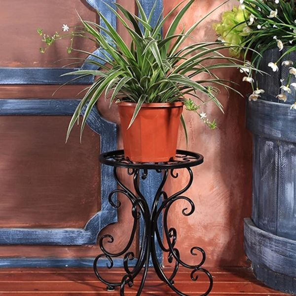 black metal plant stand