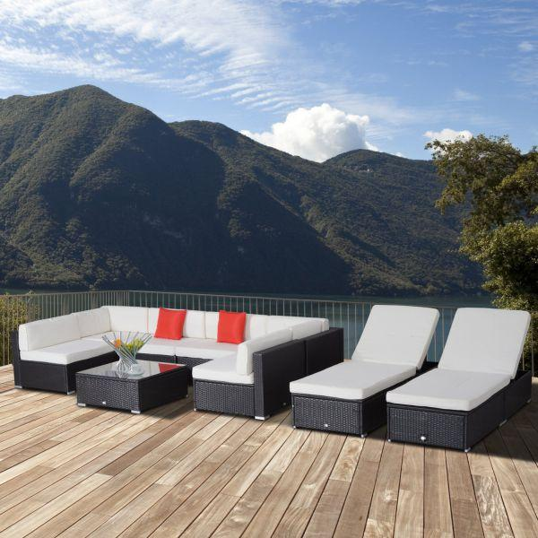 9 Piece Outsunny Rattan Cube Garden Furniture