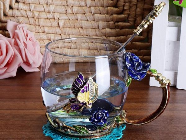 Blue Rose Tea Glass Cup Set