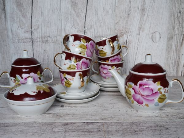 Floral Porcelain Tea Service Set