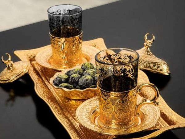 Golden Turkish Tea Glasses Set