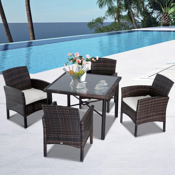 Outsunny Rattan Dining Garden Furniture