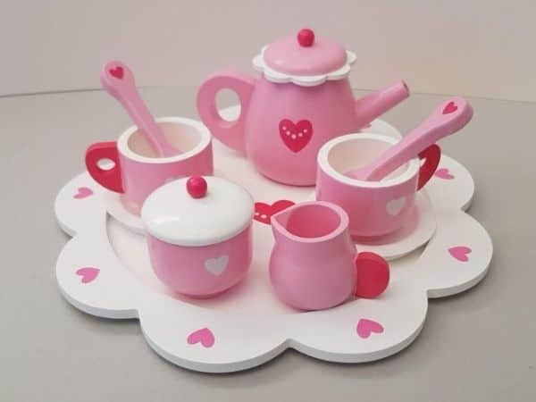 Pink Wooden Toddler Tea Set