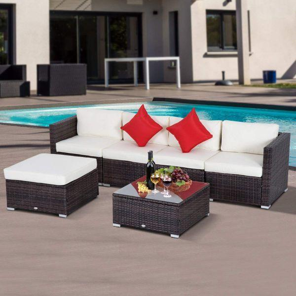 Rattan Garden Furniture 6 Seater Outsunny