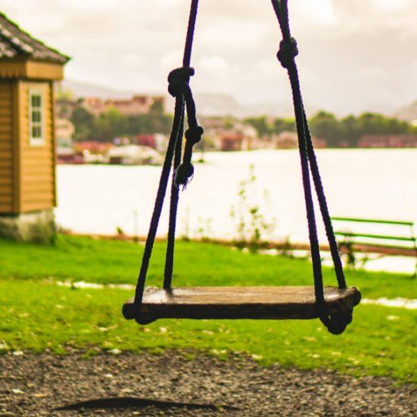 simple wooden garden swing