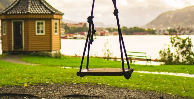 simple wooden garden swing