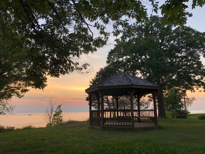 gazebo with a nice sunnset view