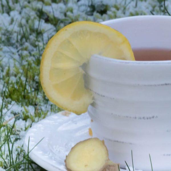 lemon tea on a white tea cup