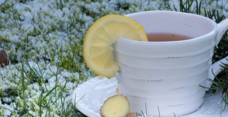 lemon tea on a white tea cup