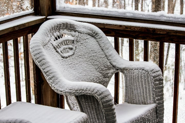 rattan furniture in winter