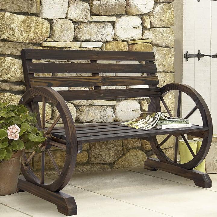 rustic outdoor wooden bench