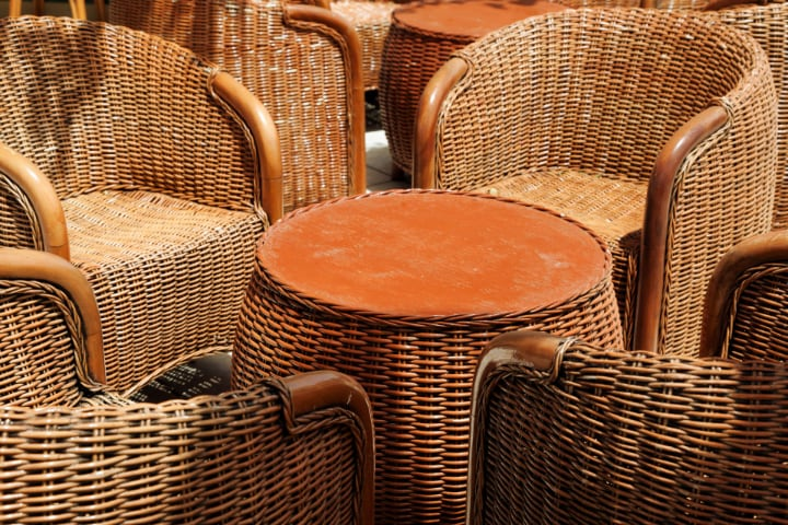 stained rattan furniture