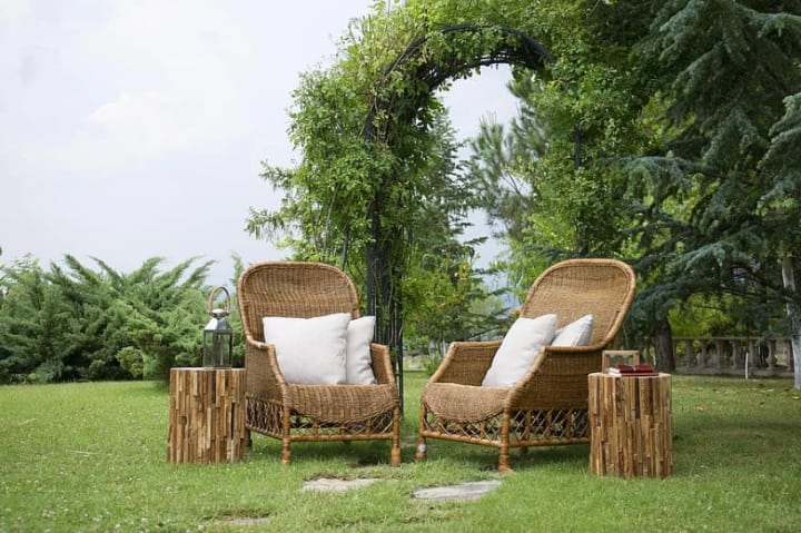 varnished rattan garden furniture