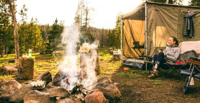 camping comfortably in the woods with trailer tents