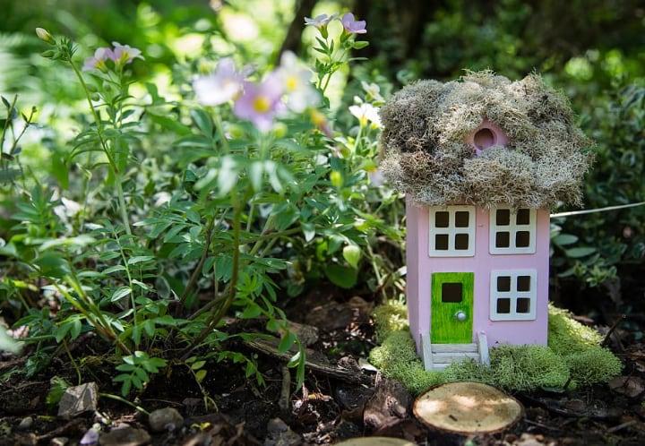 fairy garden pink house