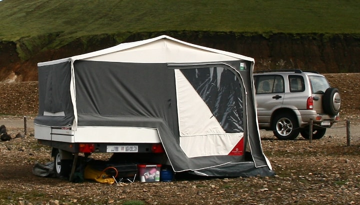 parked trailer tent