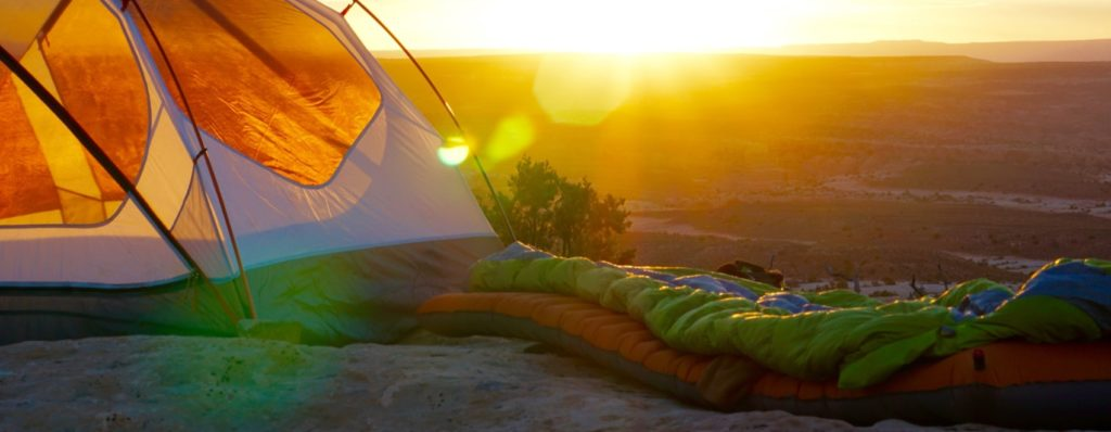 sleeping bag on top of the mountains