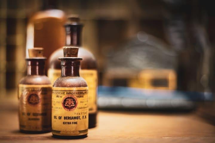 bergamot oil in small bottles