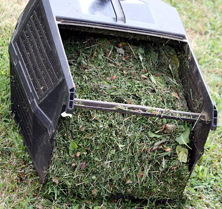 collected grass in an electric lawn mower