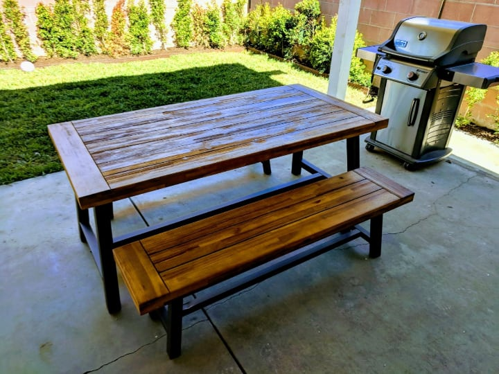 picnic bench and barbecue grill