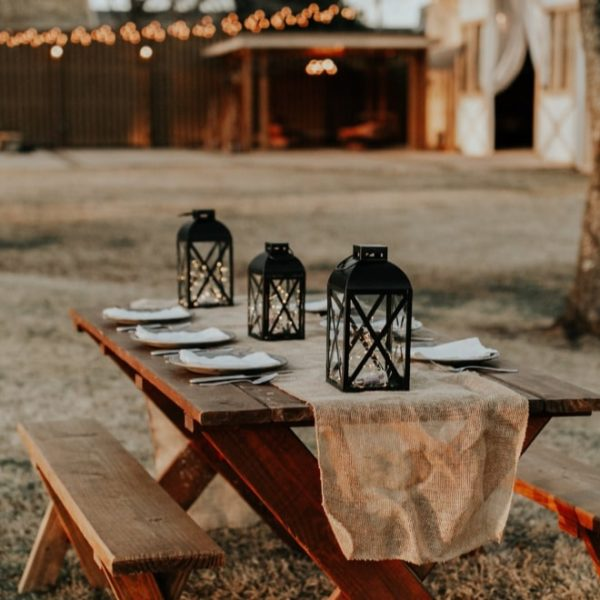 picnic bench table setting