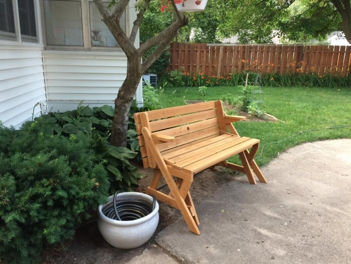 portable foldable garden picnic bench that turns into table
