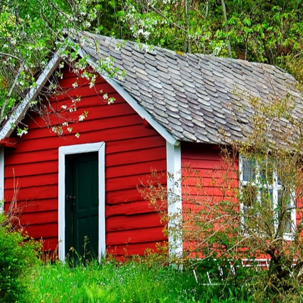 red garden shed in the farm