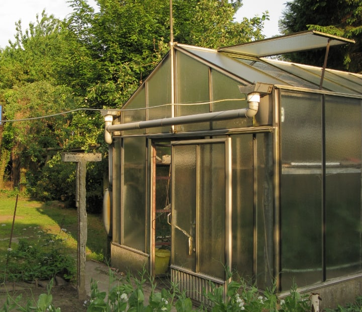 greenhouse with open vent and door
