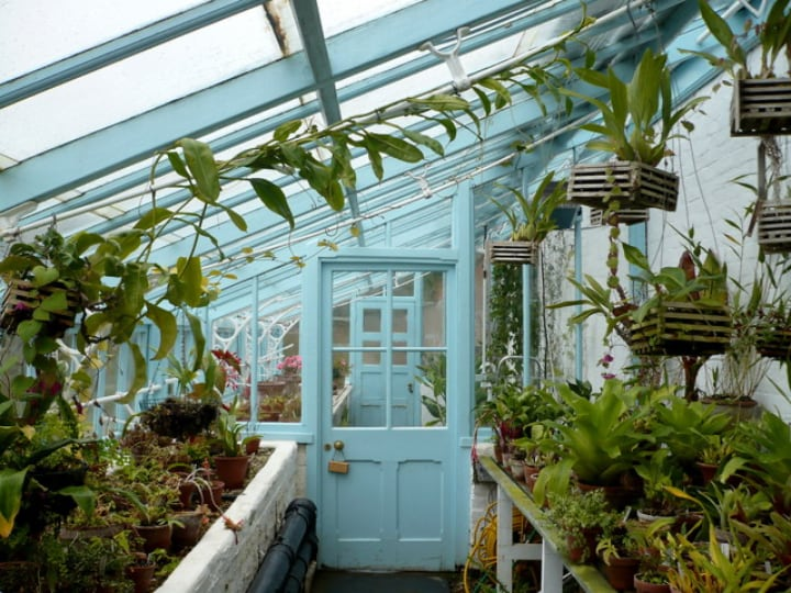 space saving greenhouse attached to house