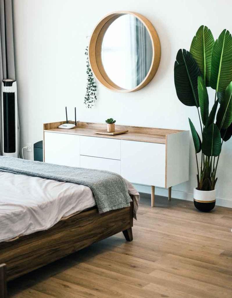 big plant in bedroom