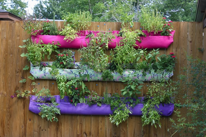 colorful cloth vertical garden planters