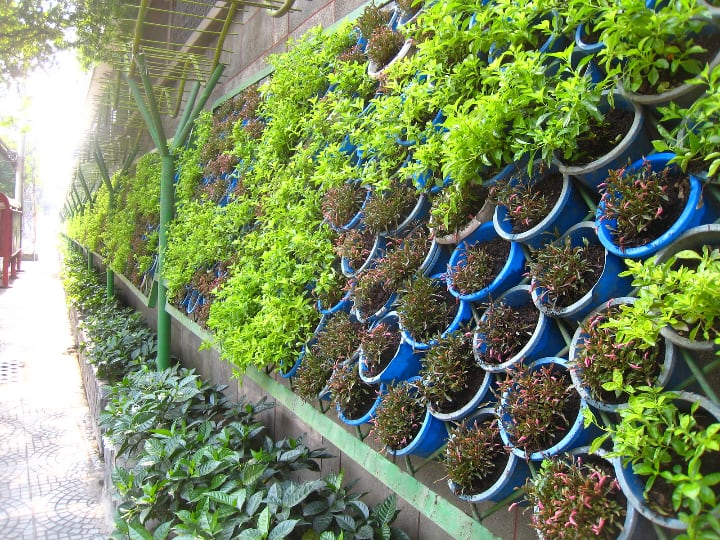 galvanized steel with pot inserts vertical garden