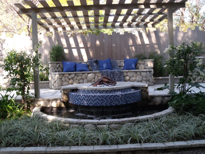 garden design with pergola couch and pond