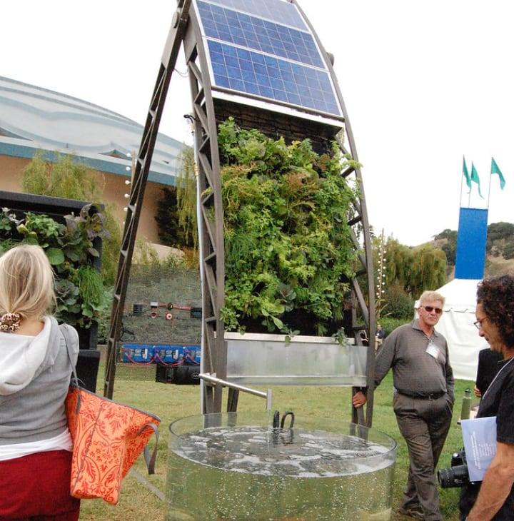 solar aquaponic vertical garden
