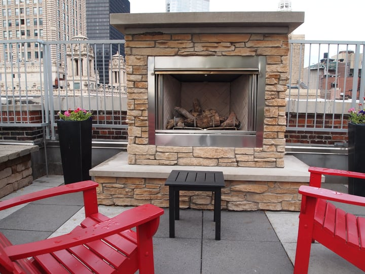 beautiful rooftop outdoor fireplace