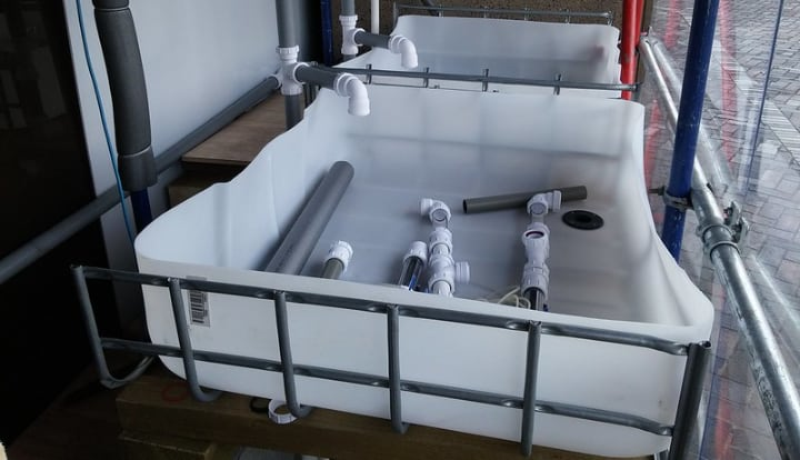 drain and pipes in a aquaponic system